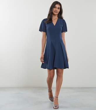 Reiss NATALIA V-NECK FIT AND FLARE DRESS Teal