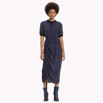 Tommy Hilfiger Silk Pinstripe Ruched Dress
