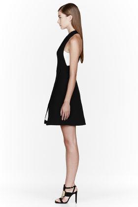 Proenza Schouler Black Crepe & Leather layered Halter dress