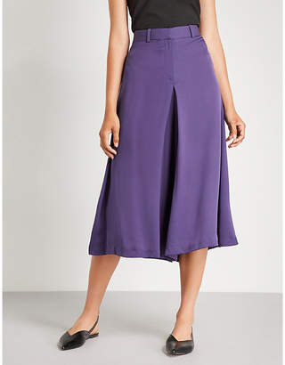 Theory Cropped high-rise silk wide-leg trousers