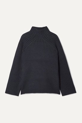 By Malene Birger Peach Oversized Ribbed Wool-blend Turtleneck Sweater - Navy
