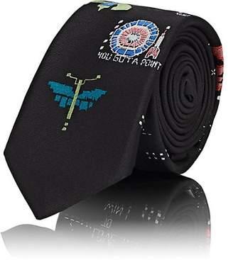 Valentino Men's Video-Games-Print Silk Twill Necktie - Black