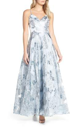 Eliza J Floral Jacquard Evening Dress