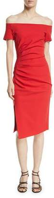 Chiara Boni Devis Off-the-Shoulder Ruched Dress