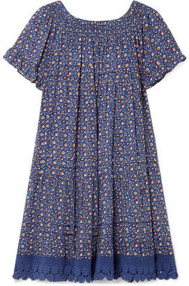 Tory Burch Wild Pansy Crochet-trimmed Poplin Mini Dress