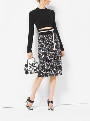 Michael Kors Floral Sateen Pencil Skirt