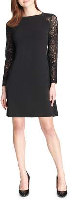 Tommy Hilfiger Scuba Crepe Lace-Sleeve Mini Dress