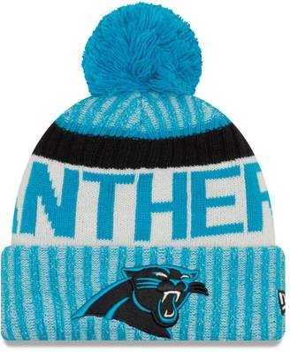 New Era Knit Carolina Panthers Blue On Field Game Sideline Winter Stocking Beanie Pom Hat Cap 2015 ...