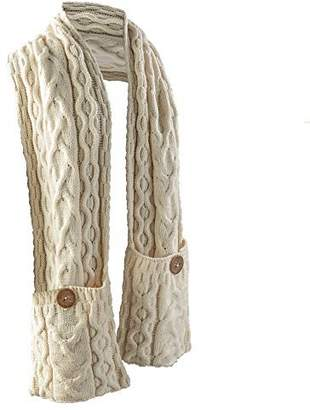 Carraigdonn Carraig Donn Women's Galway Bay Cable Knit Wool Pocket Scarf