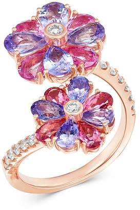 Bloomingdale's Tanzanite, Pink Sapphire & Diamond Bypass Ring in 14K Rose Gold - 100% Exclusive