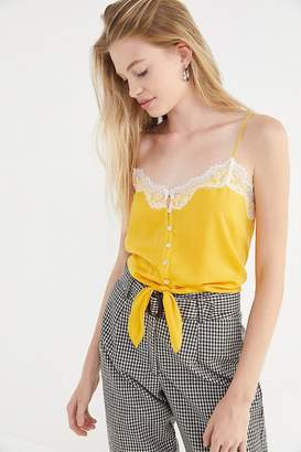 Out From Under Lace Trim Button-Front Cami