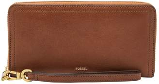 Fossil Logan RFID Zip-Around Leather Clutch