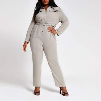 River Island Womens Plus light Grey utility jumpsuit