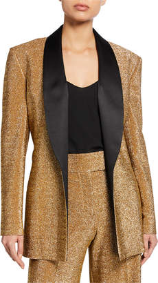 Sara Battaglia Shimmer Twill Satin-Lapel Tuxedo Jacket