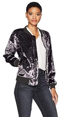 James Jeans Women's Varsity Jacket in Amethyst Crushed Velvet