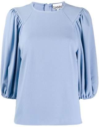 Ganni three quarter length sleeve blouse