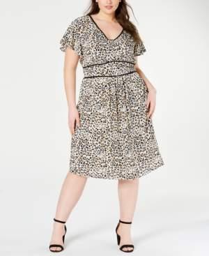 Monteau Trendy Plus Size Animal-Print Dress