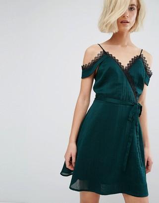 J.O.A Cold Shoulder Cami Slip Dress With Lace Wrap Front $98 thestylecure.com