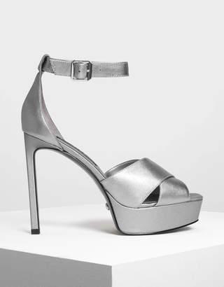 Charles & Keith Satin Platform Heeled Sandals