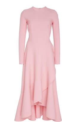 Oscar de la Renta Ruffled Wool-Blend Midi Dress