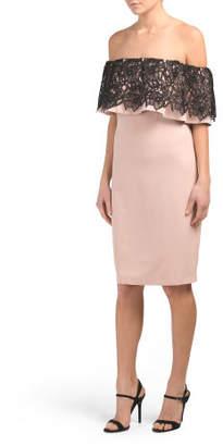 Off The Shoulder Contrast Lace Short Dress