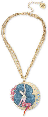 """Betsey Johnson Gold-Tone Crystal Moon & Showgirl Round Pendant Necklace, 16"""" + 3"""" extender"""