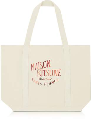 MAISON KITSUNÉ Palais Royal Red and Ecru Cotton Canvas Tote Bag