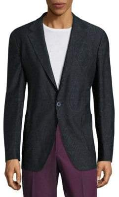 Etro Giacca Ikat Printed Wool Blend Jacket