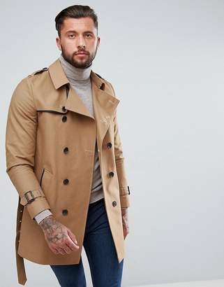 Asos Shower Resistant Double Breasted Trench In Tobacco