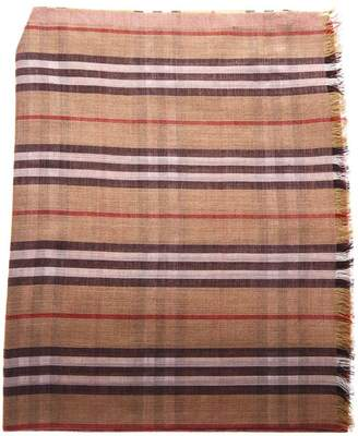 Burberry Two Color Pink Tartan Cotton Scarf