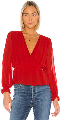1 STATE Cinched Waist Wrap Front Blouse