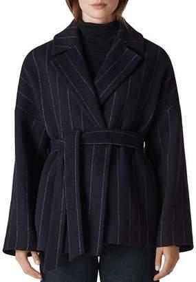 Whistles Striped Wrap Coat