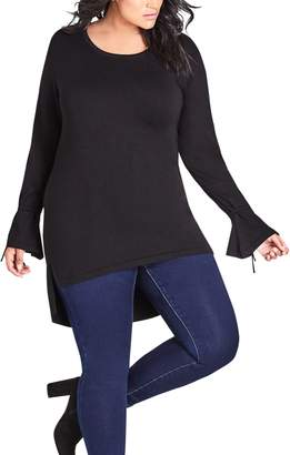 City Chic Bell Sleeve High/Low Top