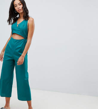 Asos Tall DESIGN Tall cotton jumpsuit with cut out detail