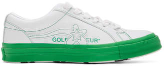 Converse White and Green Golf le Fleur* OX Sneakers