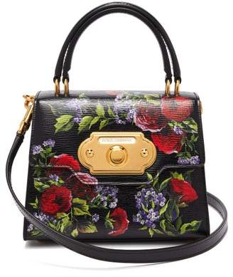 746cb7c95b3b Dolce   Gabbana Welcome Mini Floral Painted Leather Bag - Womens - Black  Multi