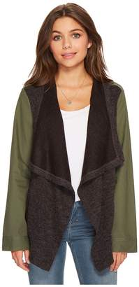 BB Dakota Lakani Cotton Twill Jacket with Contrast Drapey Knit Front Women's Coat