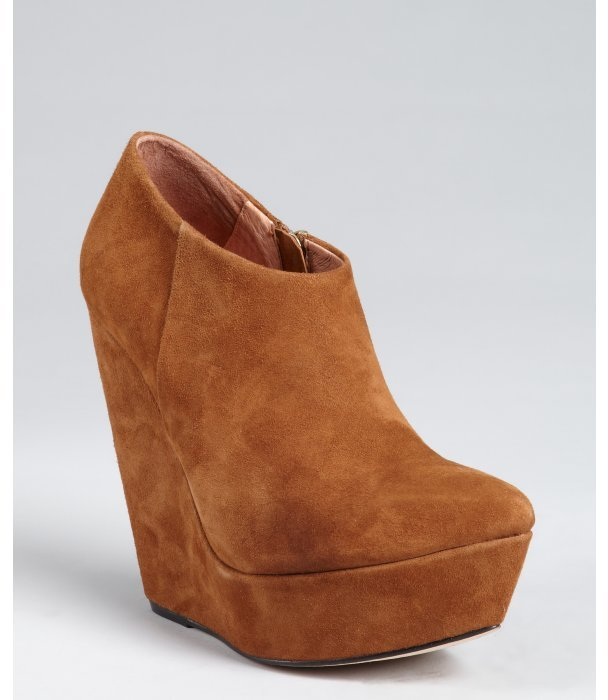 Madison Harding almond suede pointed toe platform wedge 'Adrian' booties