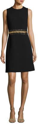 Michael Kors Chain-Inset Sleeveless Minidress, Black