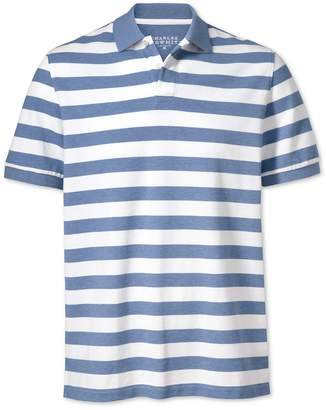 Charles Tyrwhitt Sky Blue and White Stripe Pique Cotton Polo Size XS