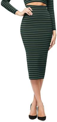 Good American Stripe Midi Skirt
