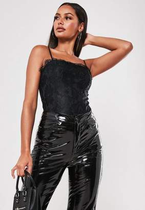 Missguided Black Straight Neck Lace Overlay Bodysuit