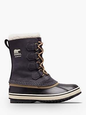 Sorel PAC2 Lace Up Ankle Snow Boots, Black Leather