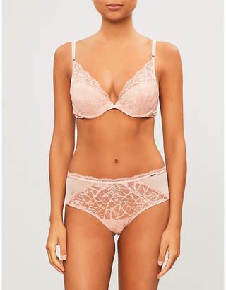 Chantelle Segur mesh and stretch-lace plunge bra