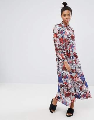 Monki Floral Printed High Neck Maxi Dress