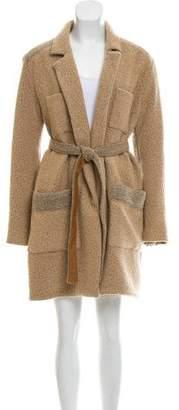 Raquel Allegra Leather-Trimmed Angora Coat