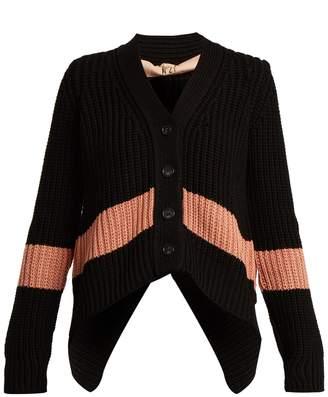 No.21 NO. 21 Stripe-detail V-neck ribbed-knit cardigan