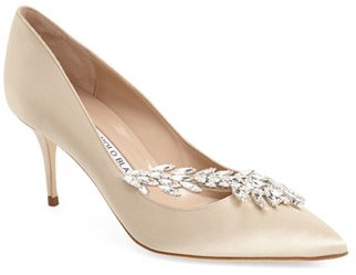 Women's Manolo Blahnik' Nadira' Crystal Embellished Pointy Toe Pump $1,030 thestylecure.com