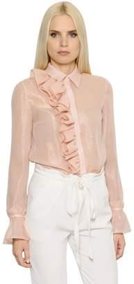 Ingie Paris Ruffled Lurex & Silk Georgette Shirt