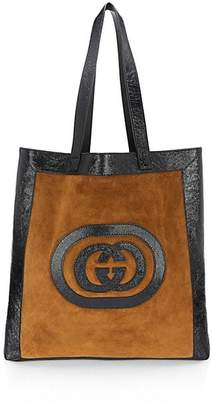 Gucci Suede Leather Trim Large Logo Tote